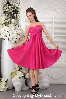 Hot Pink Knee Length Dresses