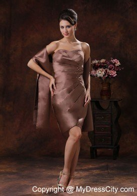 Chocolate ruched beading mother of the bride dress for Should mother in law see wedding dress