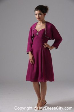 Sweetheart beaded knee length burgundy chiffon jacket for Should mother in law see wedding dress