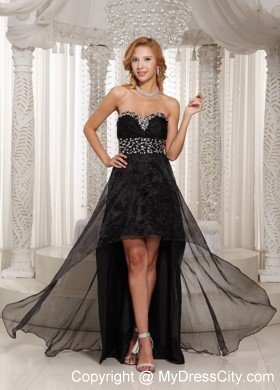 Black Sweetheart Beaded Front Short Back Long Prom Dress ...