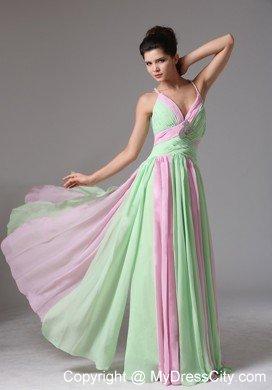 Spaghetti Straps Ruching Chiffon Apple Green And Baby Pink Prom Dress