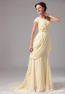 986ce732c7d Flower One Shoulder Ruched Chiffon Light Yellow Prom Dresses
