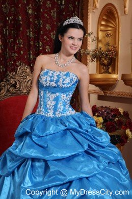 197d52b8ac Strapless Baby Blue Appliques Puffy Quinceanera Dress