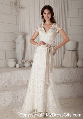 Sheath Vneck Lace Wedding Dress with Sash and Short Sleeves