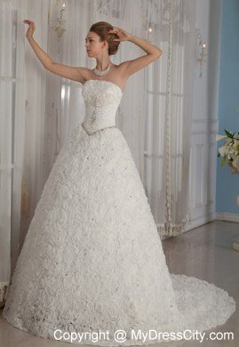 Exclusive Puffy Strapless Special?Embossed Fabric Beading Wedding Gowns