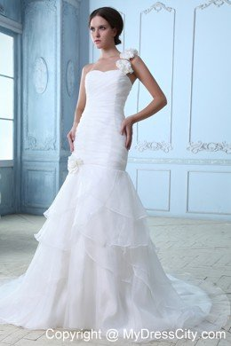 Flowery Single Shoulder Organza Court Train Wedding Dress