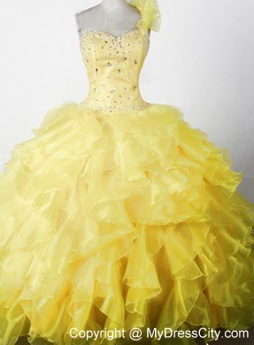 Beading Ruffles One Shouldder Yellow Pageant Dresses For Kids