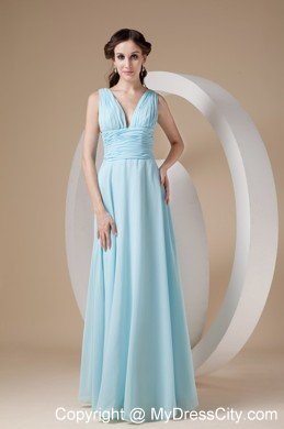 Simple Chiffon Ruched Floor-length Aqua V-neck Prom Dress ...