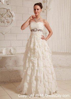 Pretty Lace and Chiffon Ruffled A-line Wedding Dress With Brush Train