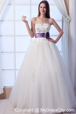 Beading Wedding Dress With Purple Flower Decorate Waist