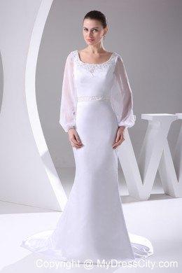 Long Sleeves Scoop Neck Court Train Beaded 2013 Wedding Anniversary Dress