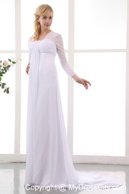 Simple Empire Square Long Sleeves Brush Train Chiffon Maternity Wedding Dress