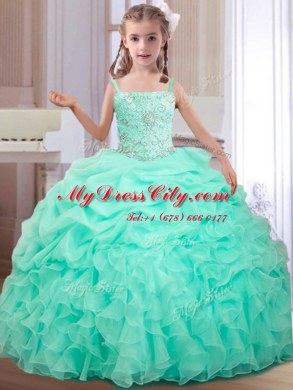 Best Apple Green Ball Gowns Organza Straps Sleeveless Beading and Ruffles and Pick Ups Floor Length Lace Up Winning Pageant Gowns