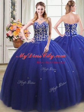 2173b0343ed Captivating Four Piece Ball Gowns 15th Birthday Dress Royal Blue Sweetheart  Tulle Sleeveless Floor Length Lace Up