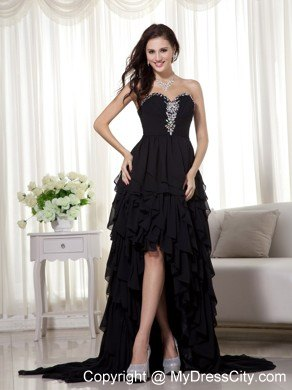 Black High-low Chiffon Beaded Prom Dress with Ruffled Layers