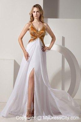 White Brush Train Beaded Prom Dress With Beaded Gold