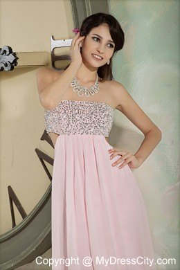 ae808abe5ca Baby Pink Strapless Beaded Prom Dress with Cutout Back