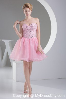 Beading Light Pink Princess Short Organza Prom Homecoming Dress ...