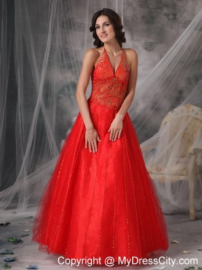 Unique Red A-line Halter Prom Dress with Beading and Appliques