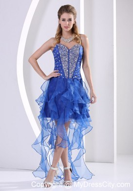 Royal Blue Sweetheart Beaded Prom Dress With Asymmetrical Ruffles