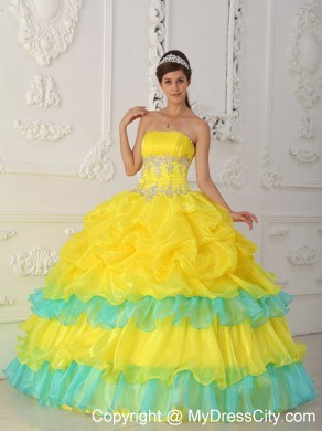 Yellow and Blue Sweet 15 Dress with Pick-ups and Appliques ...