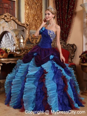 883e22ae07a 2014 Luxurious Ruffles and ruches Multi-color Quinceanera Dress