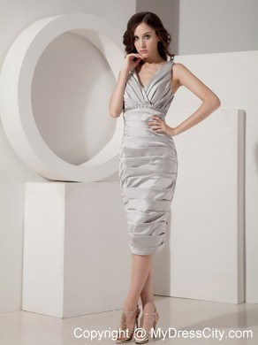 2313a37d29c6 Ruched V-Neck Tea-length Taffeta Wedding Mother Outfits with Jacket