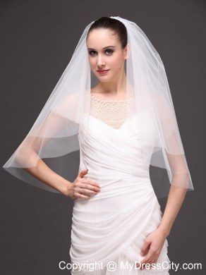 White Tulle Wedding Veil With Two Tier