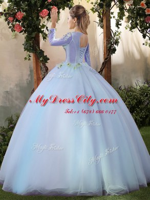 962e3543b09 Big Puffy Tulle Scoop Long Sleeves Lace Up Appliques Sweet 16 Dresses in Light  Blue