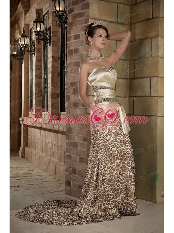 Leopard Sweetheart Beading Prom Dress with Brush Train - MyDressCity.com