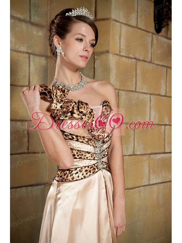 Champagne Flower One Shoulder Leopard Prom Pageant Dress