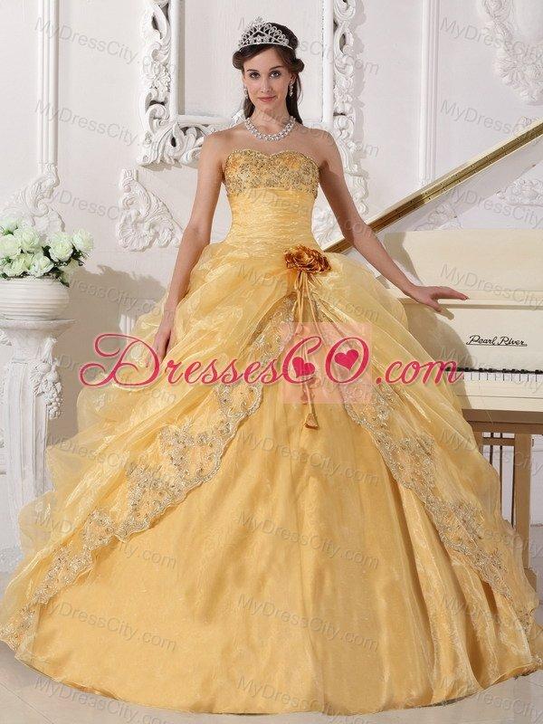 Pretty Gold Quinceanera Dresses,Super Sweet Gold Quinceanera Dresses