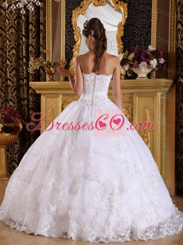 White Ball Gown Strapless Floor-length Embroidery with Beading White ...