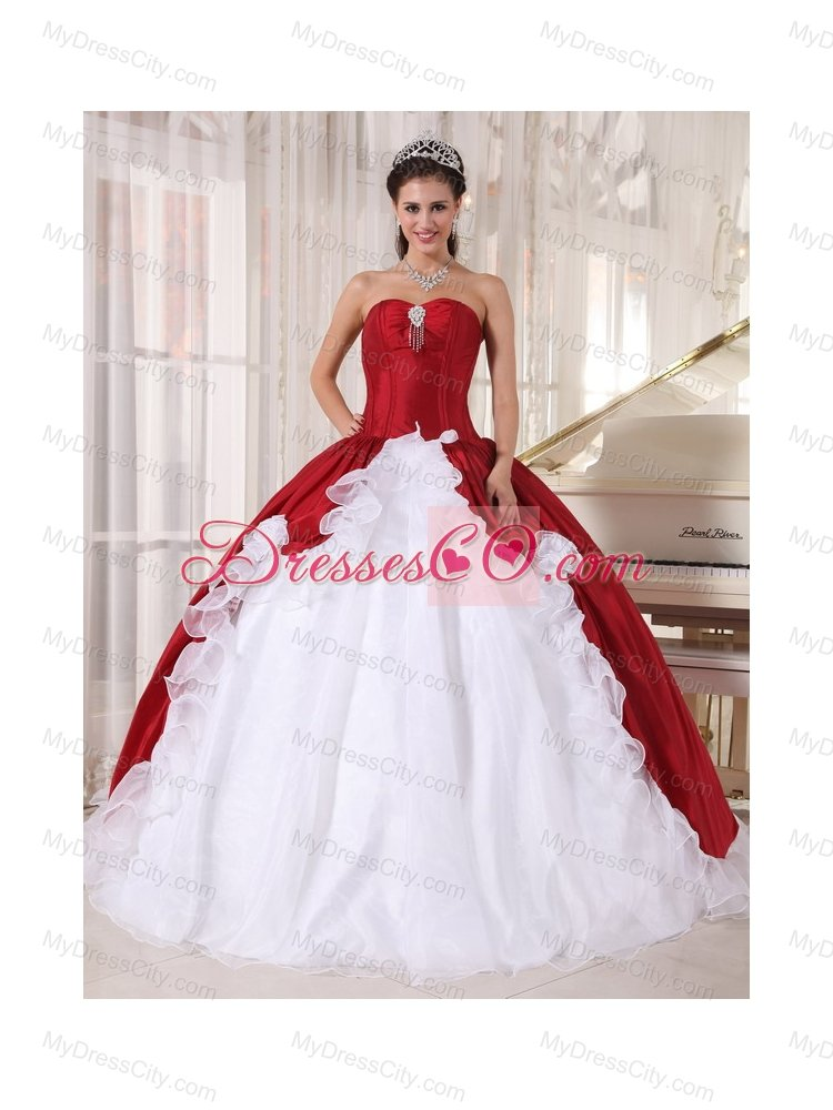 Red and White Floor Length Dress