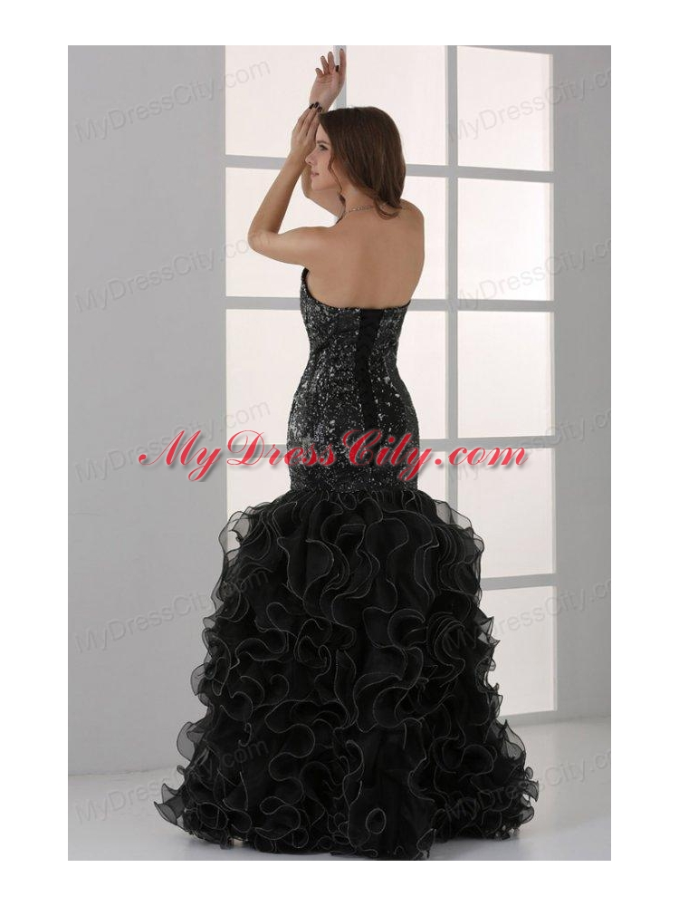 877916be94c ... Sweetheart Black Mermaid Sequins Ruffles Prom Dress with Beading ...