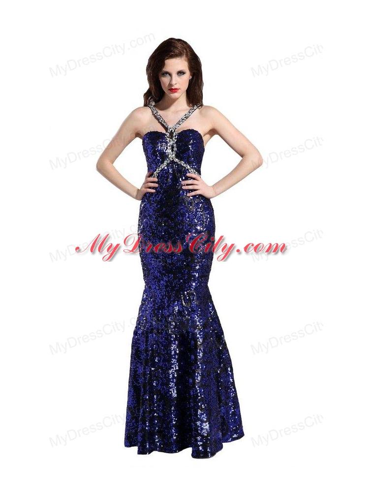 Mermaid Straps Sequins Beading Floor-length Purple Prom ...