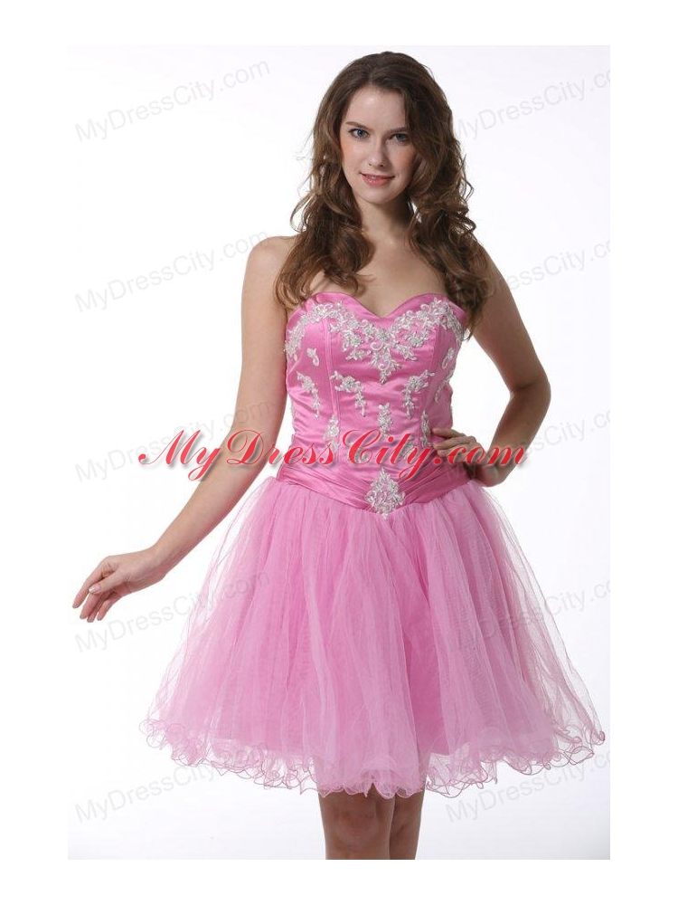 Princess Baby Pink Sweetheart Appliques Knee length Prom