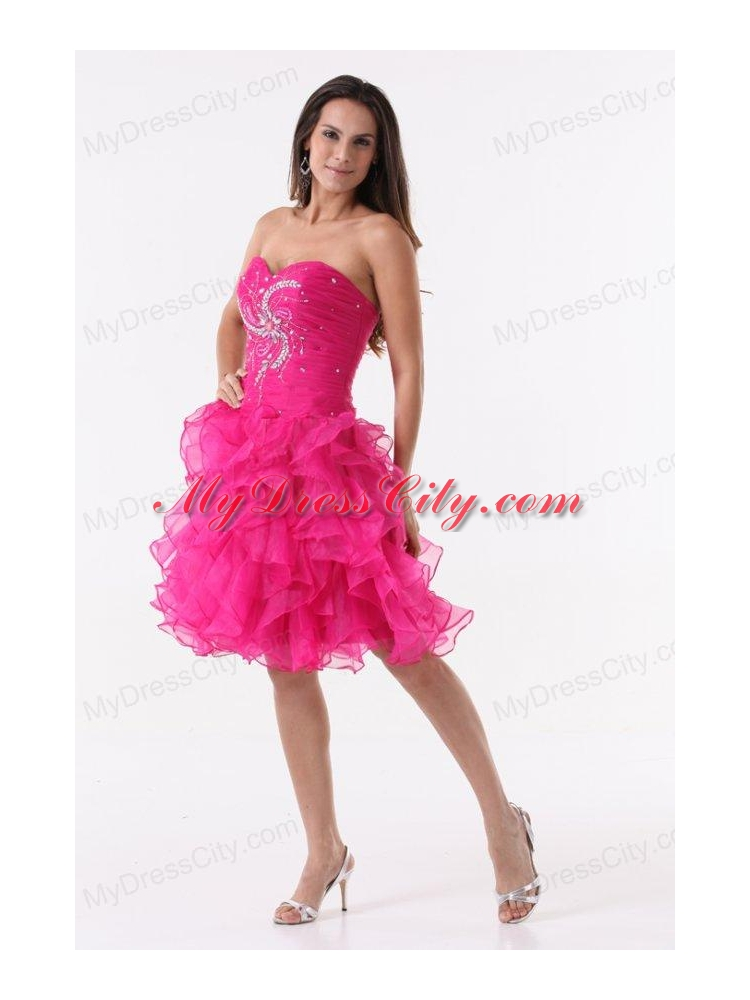 Princess Hot Pink Ruffles Beading Ruching Knee-length Prom Cocktail ...