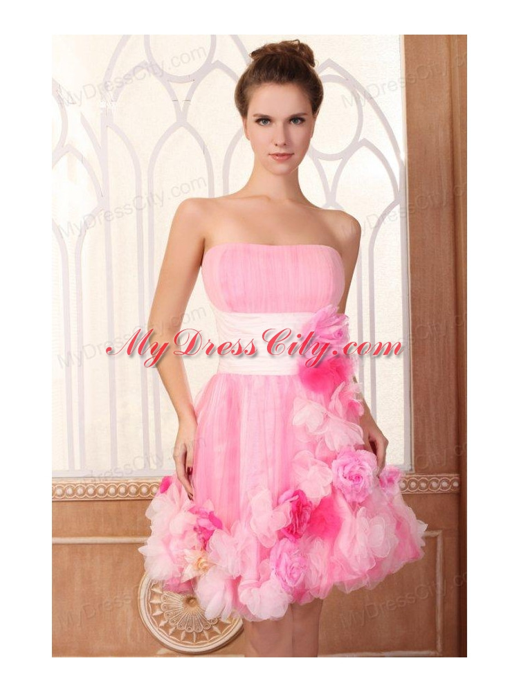 Strapless Short Hand Made Flowers Mini-length Pink Prom Dress ...