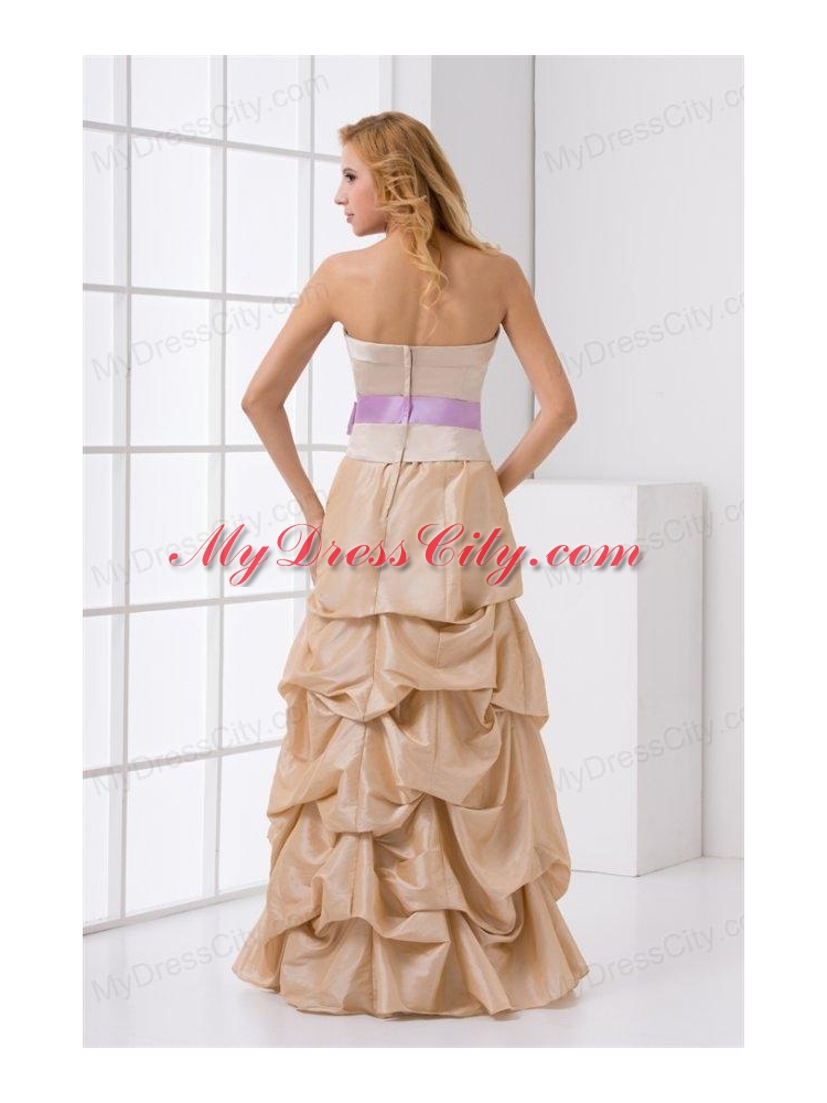 aline strapless taffeta champagne prom dress with sashes