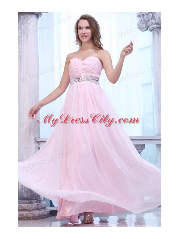 Empire Baby Pink Sweetheart Ruching Beading Chiffon Prom Dress ...