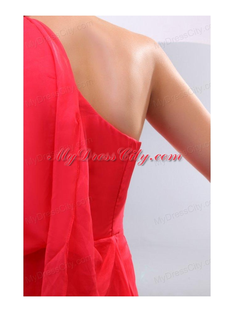 Empire One Shoulder Floor-length 3/4-Length Sleeve Prom Dress in Coral Red