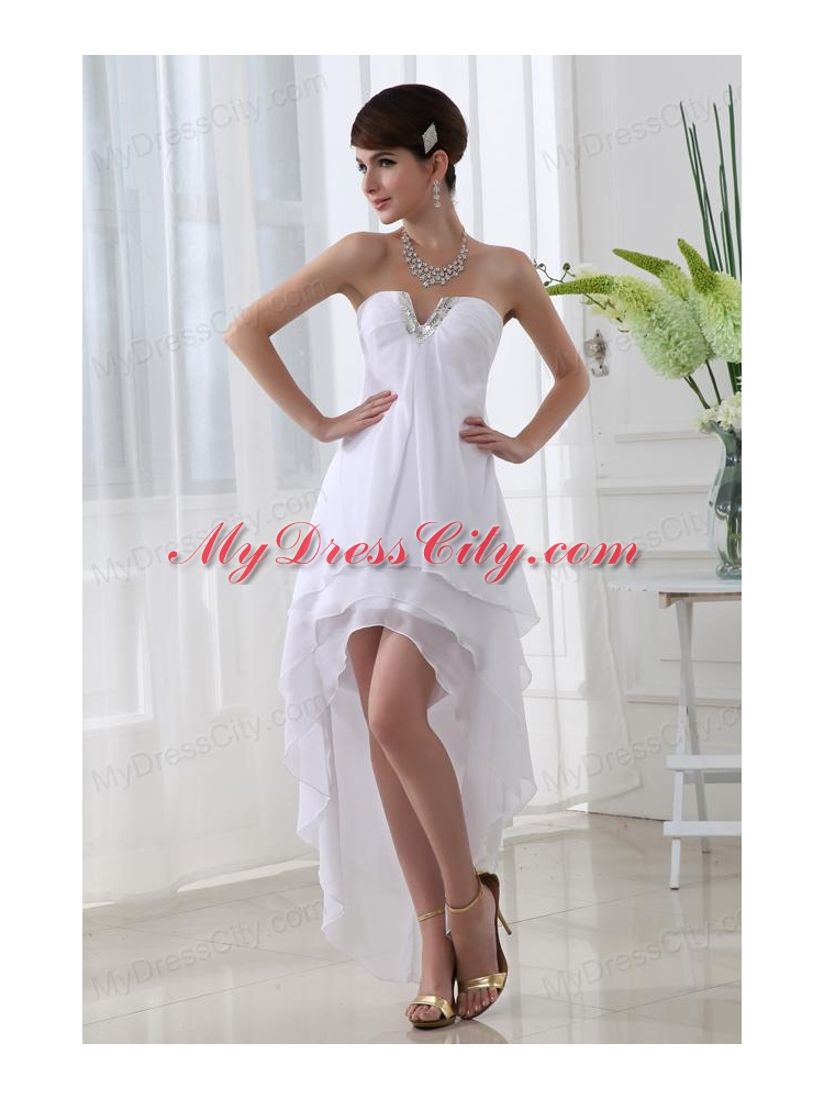 Empire Strapless White High Low Prom Dress with Chiffon ...