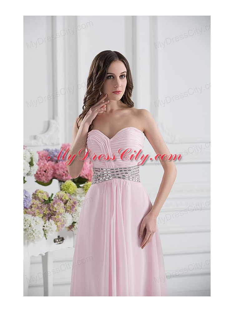Baby Pink Sweetheart Empire Prom Dress with Ruching and