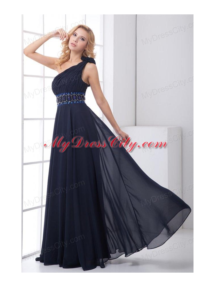 Discount Empire One shoulder Chiffon Navy Blue Beading ...