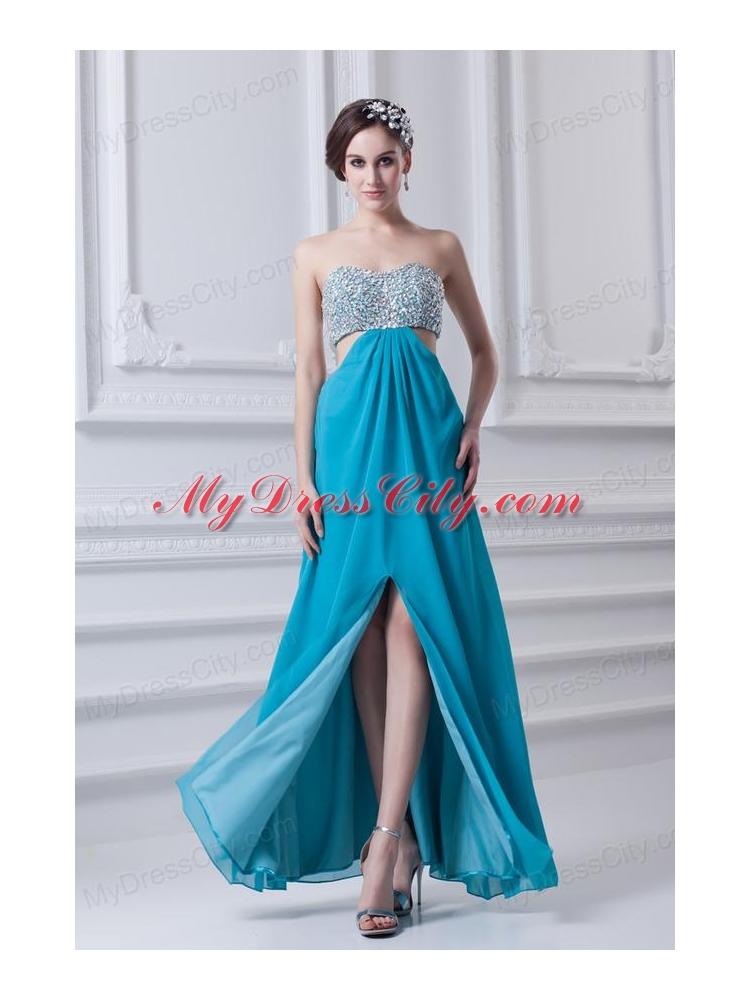 Sky Blue Sweetheart Chiffon Prom Dress