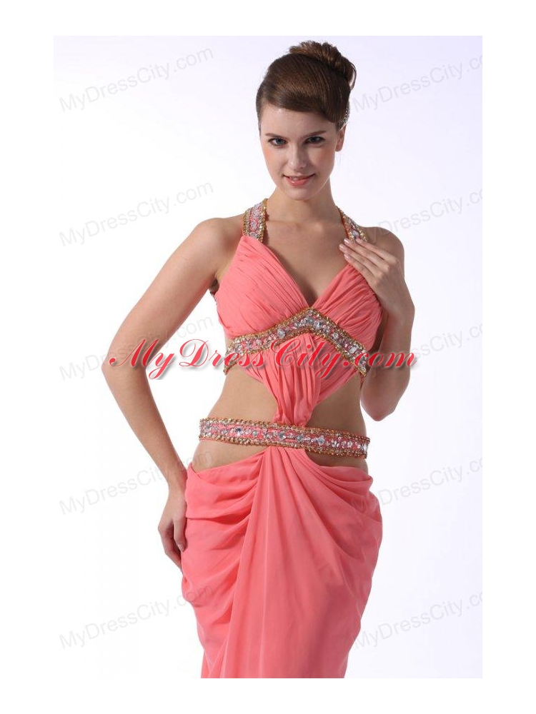 Watermelon Red Halter Top Sexy Prom Dress With Beading Mydresscity