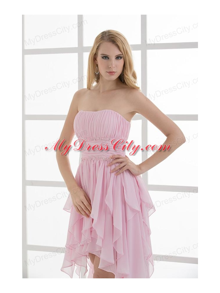 Empire Strapless High low Ruching Baby Pink Prom Dress