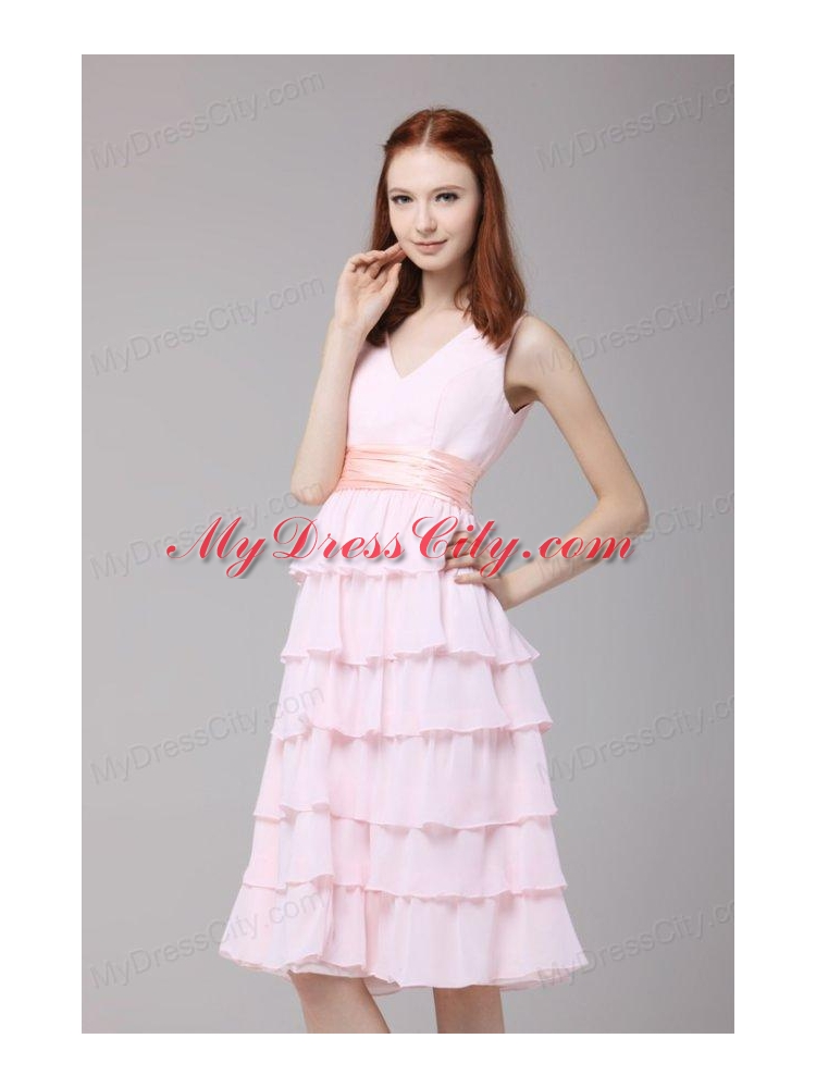Cute Princess Baby Pink V neck Ruffled Layers Ruching Prom