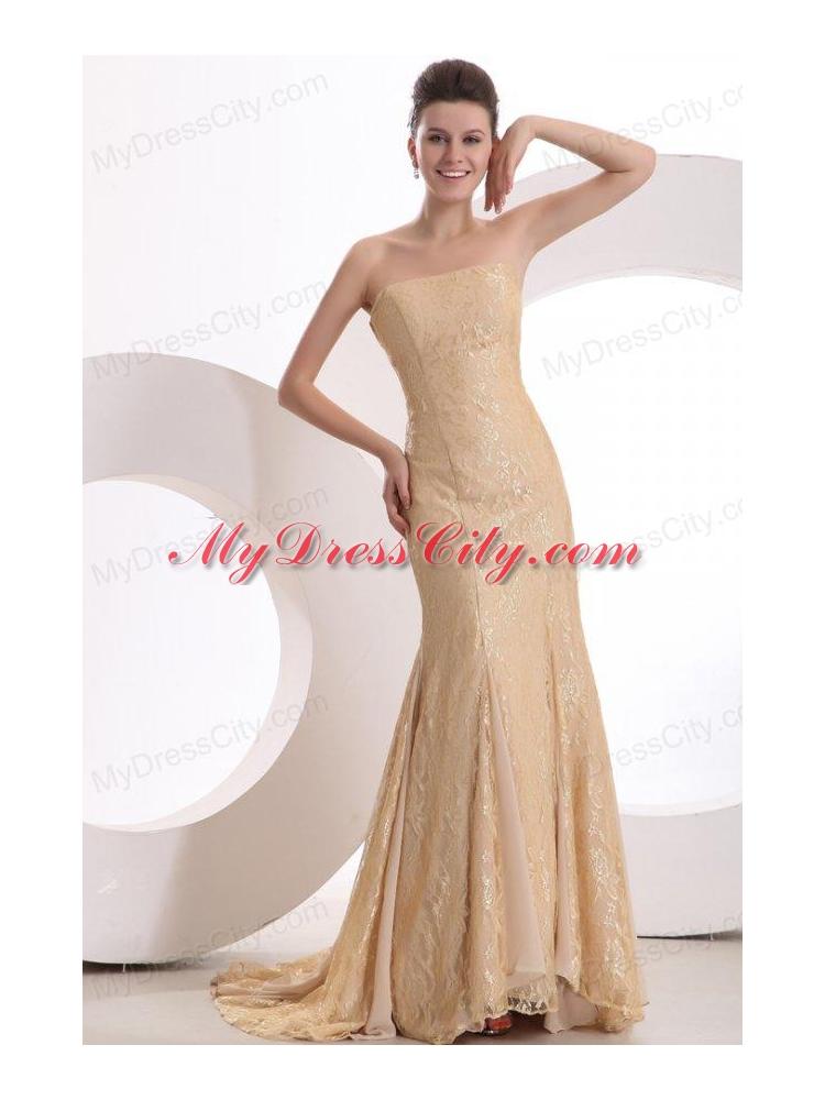 Informal Column Strapless Brush Train Lace Champagne Prom Dress ...